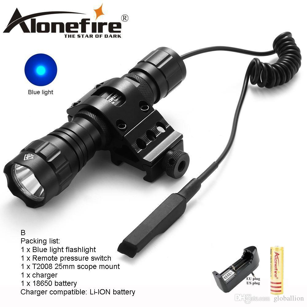 AloneFire CREE 501Bs Blue light LED Tactical Flashlight Flash light Hunting Camping Linternas Mount Pressure Switch for 1x18650 battery