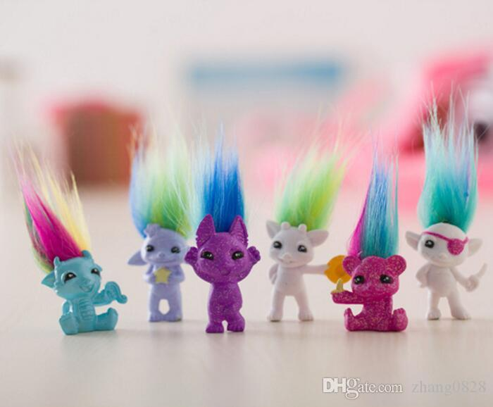 Small Size 4cm Trolls Action Figures Colorful Trolls Family Doll Toy Best Toys & Gifts For Children 6 Style