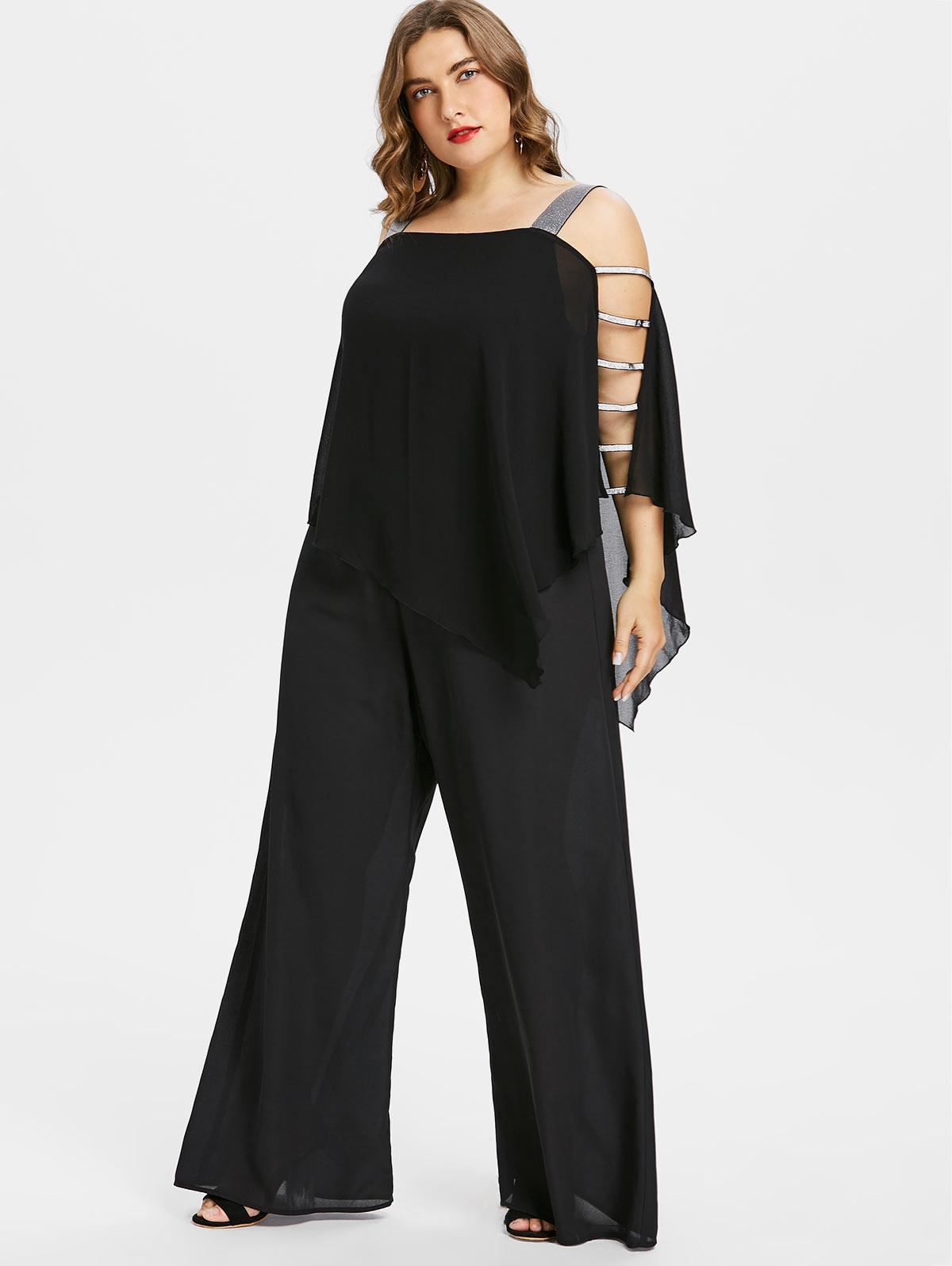 Wholesale Plus Size Jumpsuits Women Plus Size Ladder Cut Out Overlay