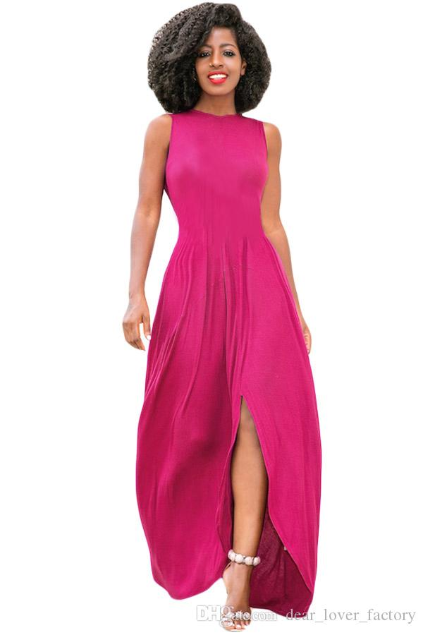 e7e98bdbdd 2018 Long Dress Vestidos Summer Black Rosy O-neck Front Slit Sleeveless  Maxi Dress Robe Longue Femme Floor-Length Evening Dresses