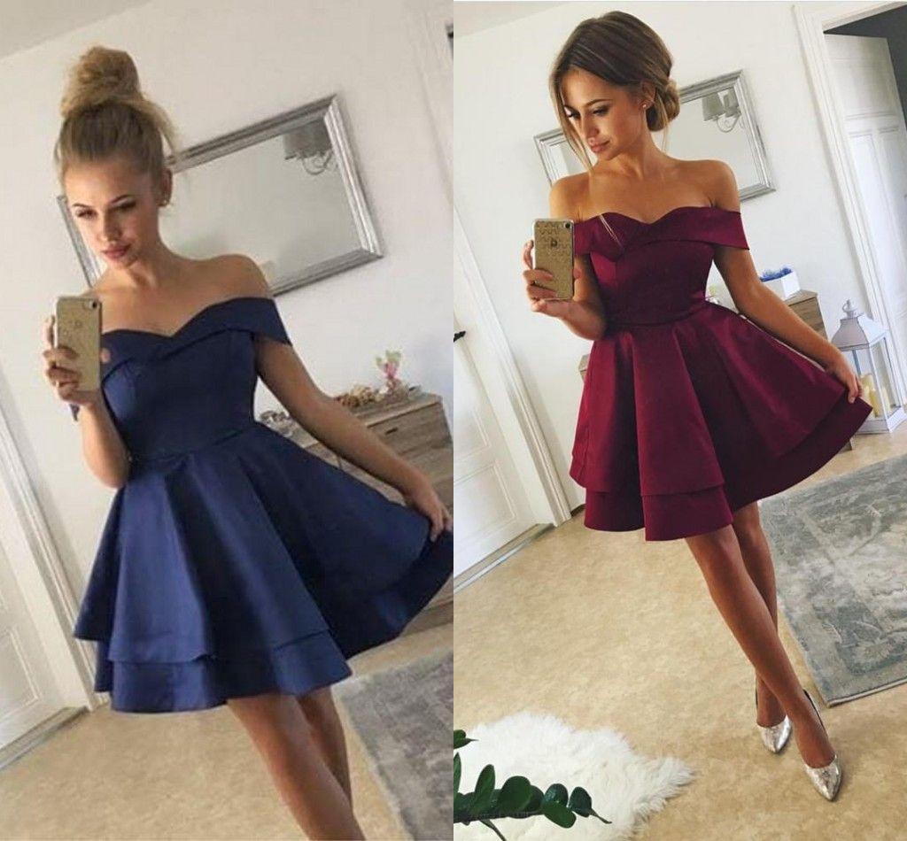 8f1a63bdbb2 Simple Dark Red Short Prom Dresses Off The Shoulder Ruffles Satin Navy Blue  Short Party Dresses Dark Blue Prom Dresses Real Image Cheap Prom Dress  Cheap ...