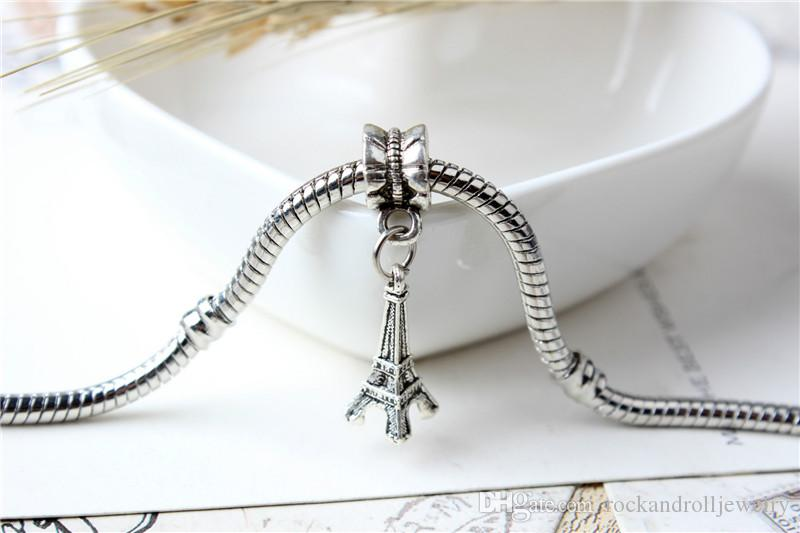 The Eiffel Tower Pendant Alloy Charm Dangle For Pandora Bracelet Snake Chain Or Necklace Fashion Jewelry Loose Bead
