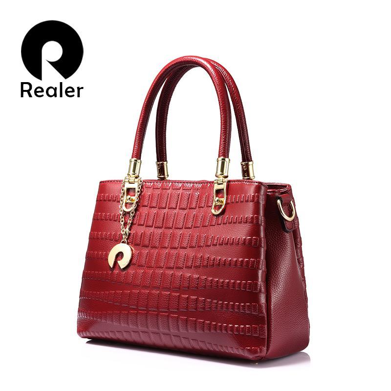 932f016553fdb Großhandel REALER Marke Frauen Echtes Leder Handtasche Weibliche Beiläufige  Taschentasche Animal Prints Top Griff Tasche Mode Umhängetaschen Schwarz    Rot ...
