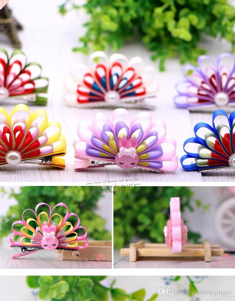 2018New Pet Cats Grooming Accessories Clips handmade Peacock Princess Cute Fabric Flower Dog Hair bow Hairpin