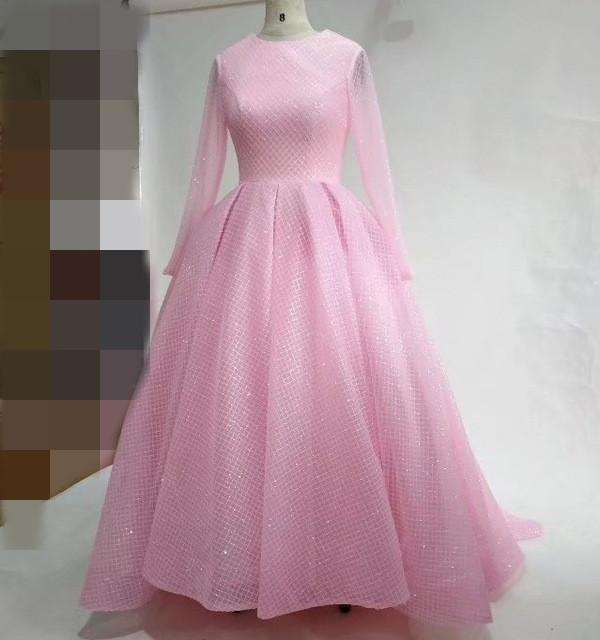 Pink Prom Dresses Sleeve Ball Gown Long Sparkly Luxury Party Evening ...