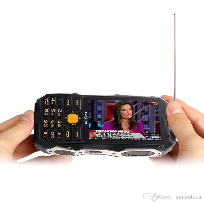 "Original TKEXUN Analog TV power bank cellphone 3.5"" handwriting touch screen dual SIM card flashlight Torch FM bluetooth mobile phone"