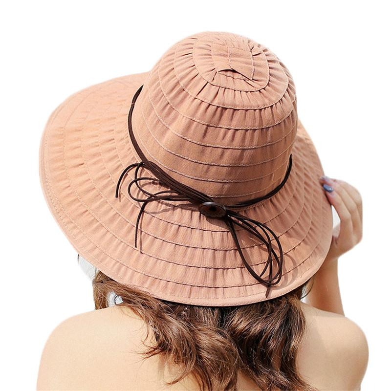 4f53f831d45 2018 Hot Sale Brand Wide Large Brim Sun Hats For Women Beach Hats Foldable  Summer UV Protect Travel Cap Ladies Casual Cap Female Funny Hats Hat World  From ...