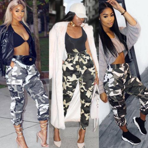 e81f118d0e767 2019 2018 New Fashion Women Camo Pants High Waist Cargo Trousers Casual  Pants Army Combat Camouflage Pocket Jeans From Cailey, $25.01 | DHgate.Com