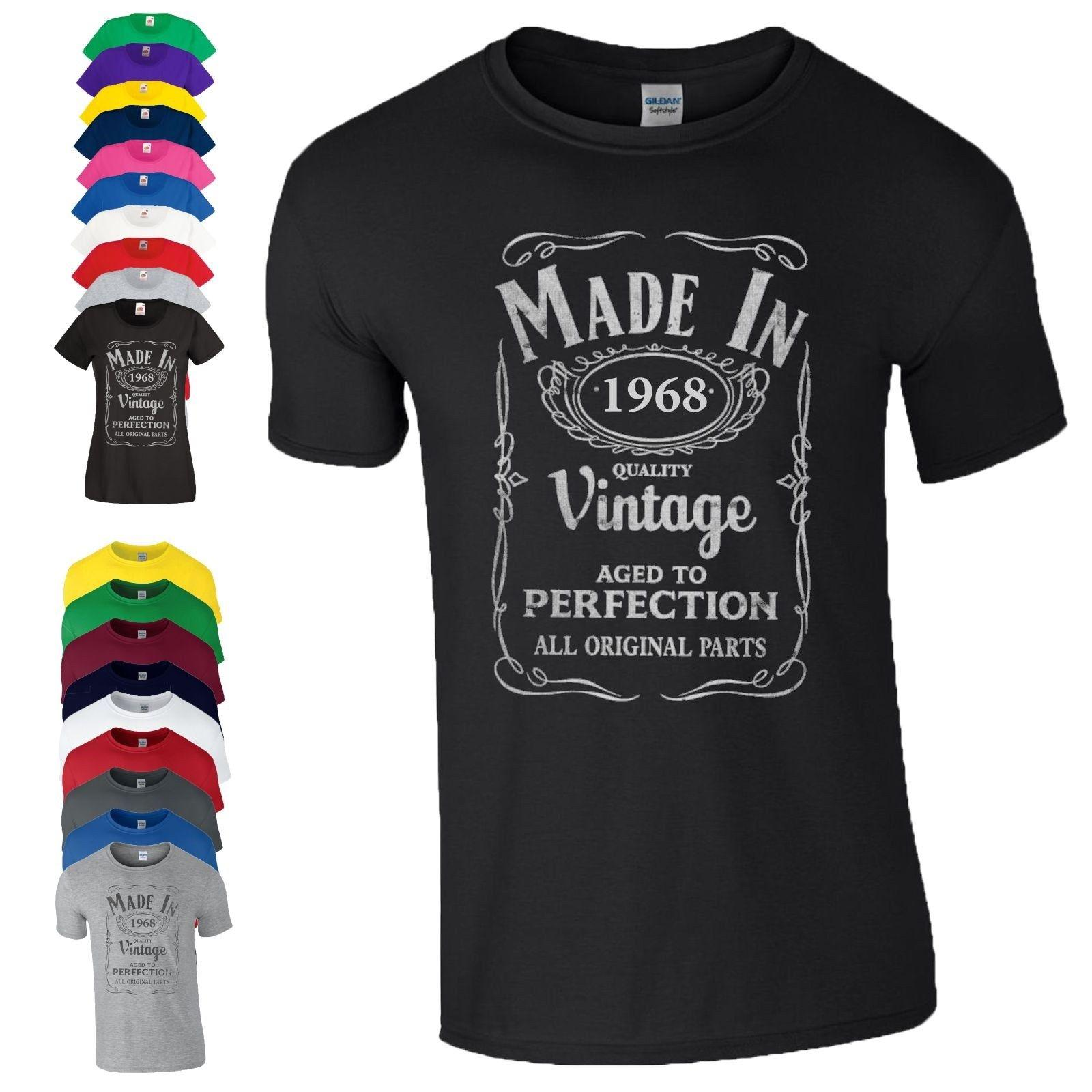 50th Birthday Gift T Shirt Made In 1968 Vintage Parts 50 Years Age Mens Ladies New High Quality Top Tee Print Summer Style Coolest Shirts Funny