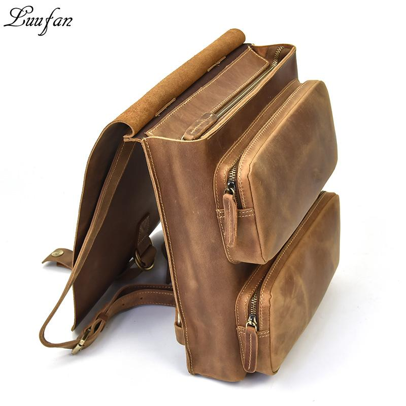 ff9091c70e7e Casual Crazy Horse Leather Backpack Men Genuine Leather Vintage  Multifunctional School Bags Daypack Man Travel Rucksack Mochila Backpacks  For Women ...