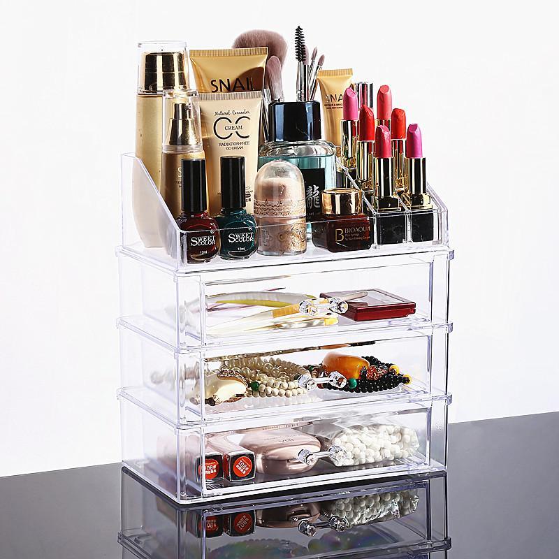 Best New Clear Acrylic Makeup Organizer Desktop Cosmetic Storage Box