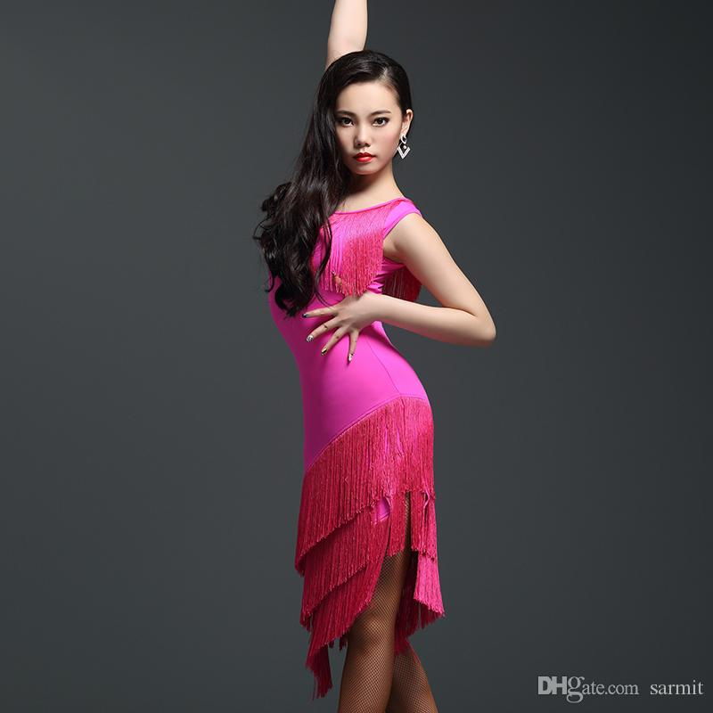 Costumes competição Latin Dance Dance Dress VENDA Fringe Salsa Vestidos Samba Tango D0304 borlas Hem 2 cores