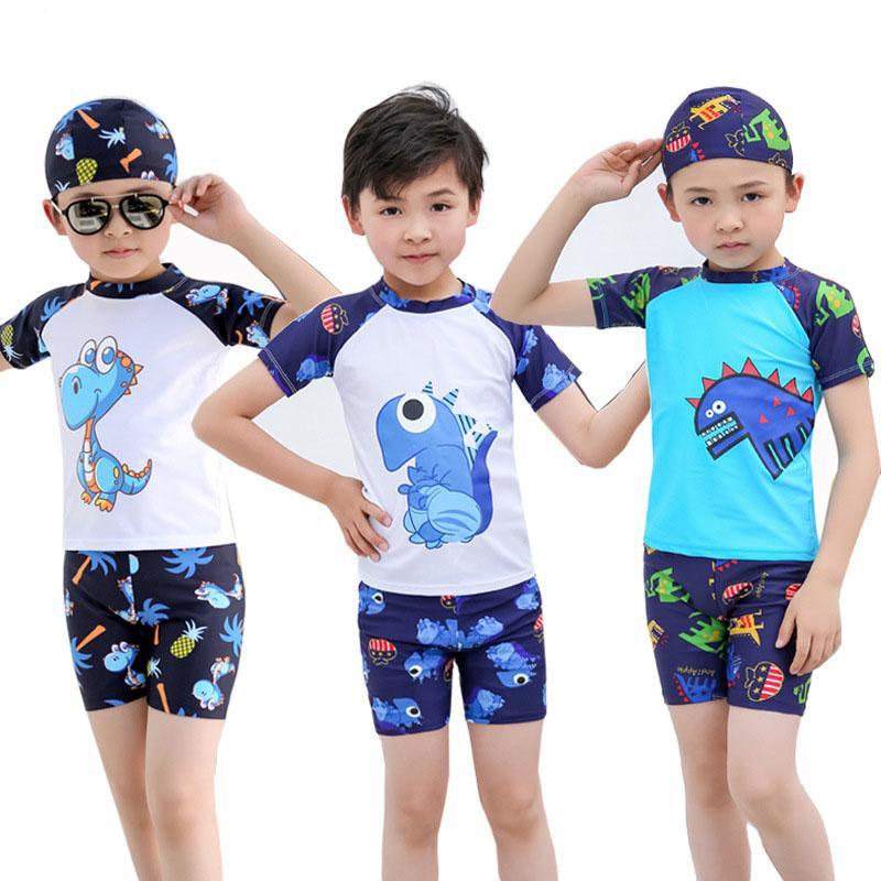 6032e4cea732a 2019 Kids Baby Boys Swimsuit Short Sleeve Rash Guard Shirt Shorts Swimming  Cap Boys Swimwear From Shunhuico, $13.57 | DHgate.Com