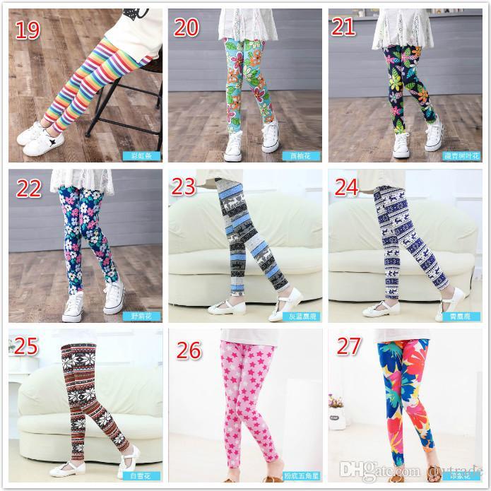 27Styles Filles Printemps Pantalon Floral Imprimé Leggings Enfants Filles Yoga Pantalon Enfants Skinny Pantalon Élastique Cartoon Collants Doux Amérique Navire Libre
