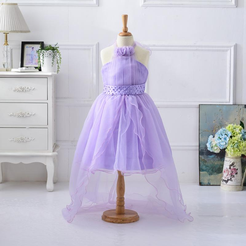 European and American girl pearl belt organza birthday shore out of the princess skirt children tail flower girl dress