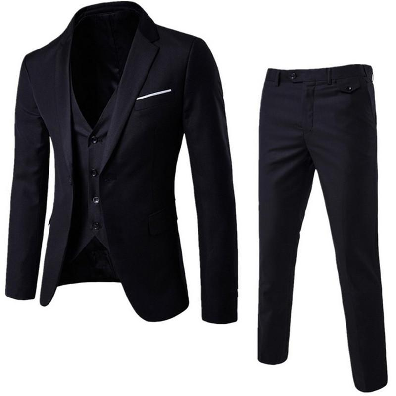 Customized new fashion men's men's suit three-piece suit (jacket + pants + vest) business formal wedding groom dress