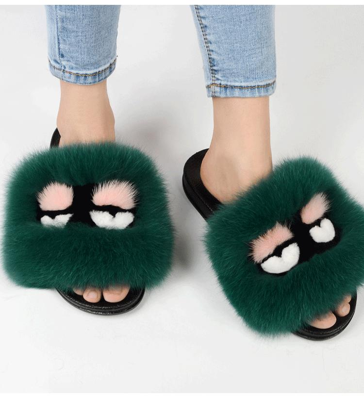 8f9ad217e83b4 Women Fox Fur Slippers Fur Slides Real Fur High Quality Plus Size Beach  Sandals Hot Plush Furry Slides Outdoor Shoes Flip Flop