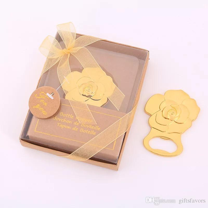 Gold Rose flower bottle openers wedding return gifts birthday favors  anniversary souvenir wholesale supplies free shipping