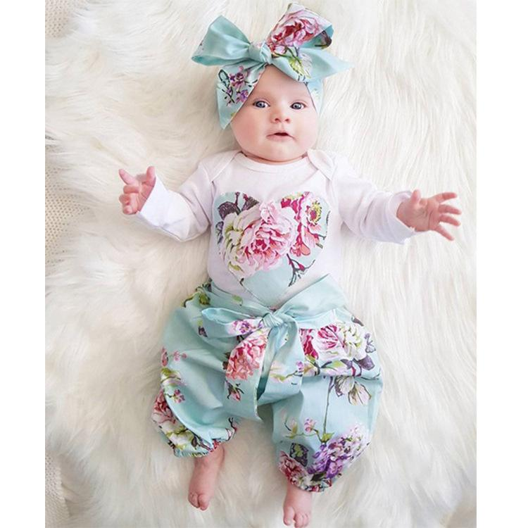 25e695533 2019 Children S Clothing 2018 Spring And Summer Ins Explosion Models Girls  Cotton Long Sleeved Flowers Bow Hair Band Three Piece From  Zhangyinquan0814