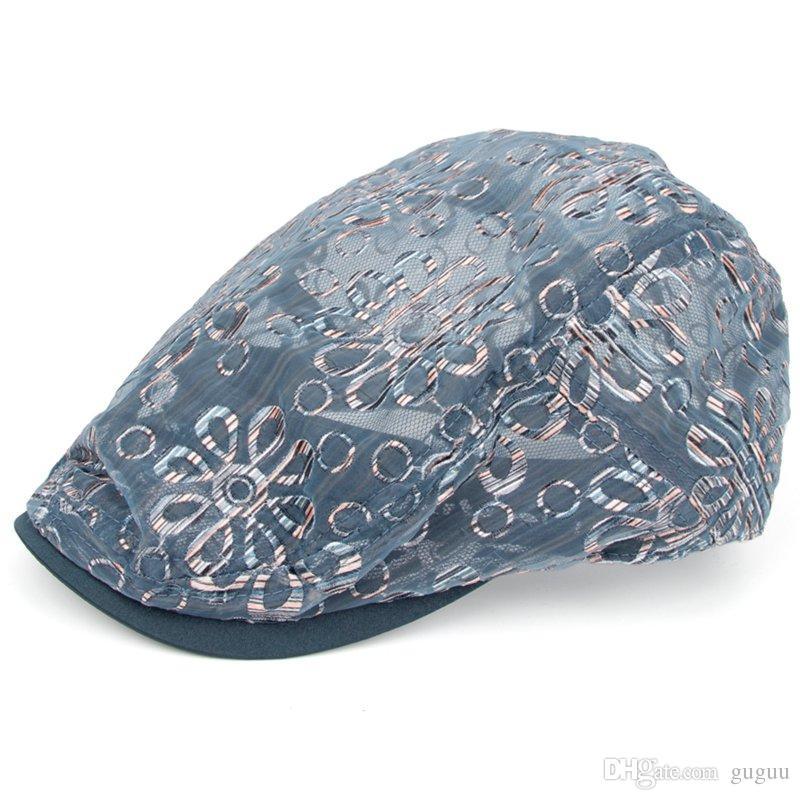 2019 Flower Berets Girl Sun Visor Hats Women Summer Mesh Gauze Transparent  Peaked Caps Lady Korean Stylish Sweet Artistic Casquette Visiere Femme From  Guguu ... 9b90bc54a01