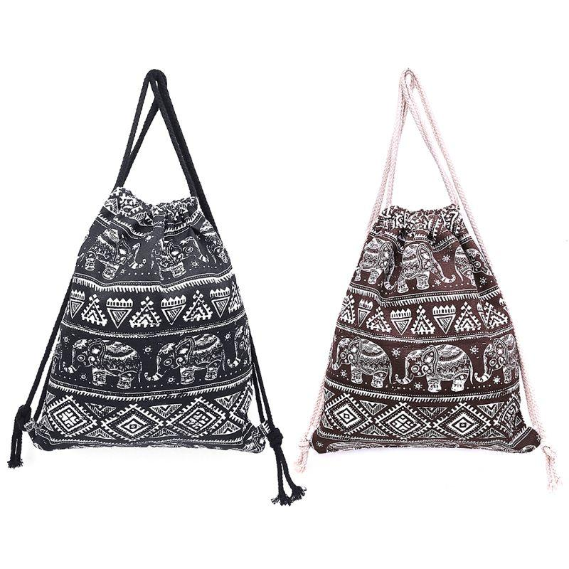 682bf8a385cb Fashion New Women Drawstring Backpack Gym Bag School Cinch Sack Girls Lady  Casual Travel Ethnic Style Canvas Shoulder Rucksack Backpacks For College  ...