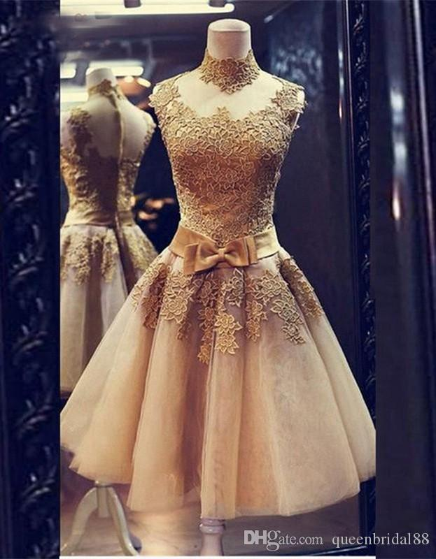 Real Photos Homecoming Dresses Lace Applique High Collar Cocktail Party Gowns with Bow Zipper Back Tulle Short A Line Dress