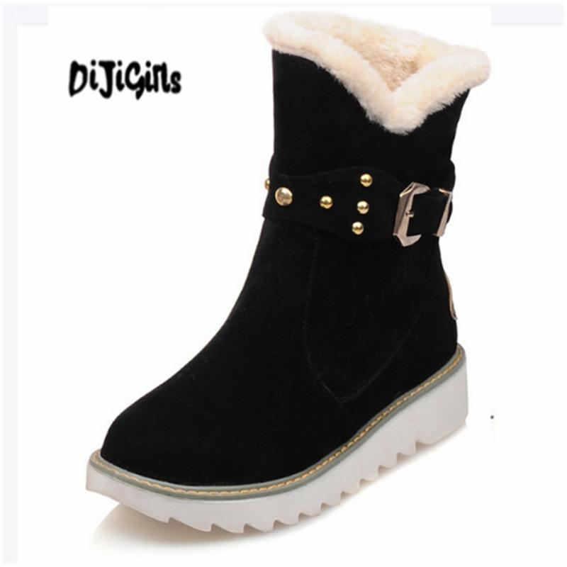 ba9b35354834 Faux Fur Snow Boots Women Fashion Ankle Boots Plus Size Black Winter Warm  Plush Female Ladies Flats Shoes Wide Calf Boots Ariat Boots From Cupbury