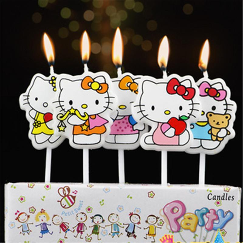 2019 Cartoon Hello Kitty Candles KidS Birthday Cake Cupcake Toppers Party Decoration Evening Supplies From Instrumenthome