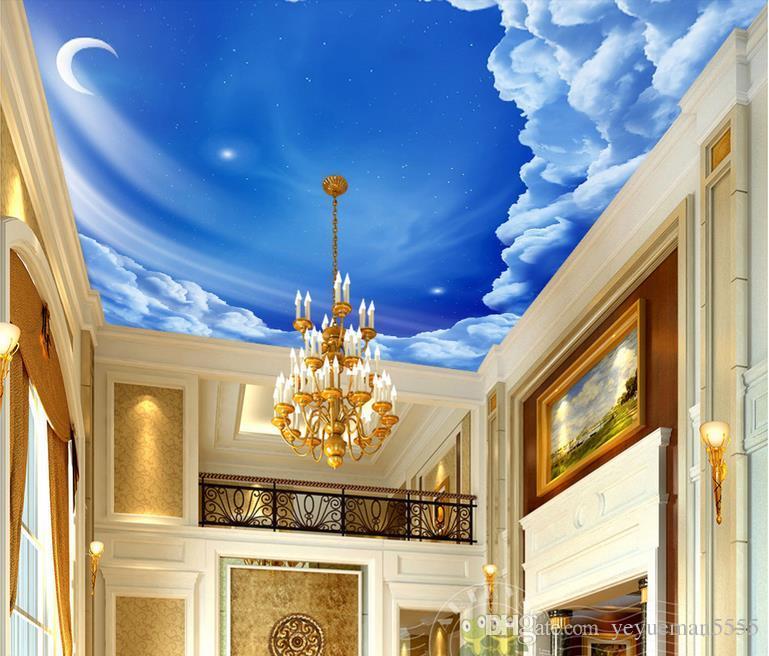 benutzerdefinierte 3D-Decke Fototapete Sternenhimmel Wallpaper für  Schlafzimmer Wände Decke 3D Wandbild Tapete für Kinderzimmer