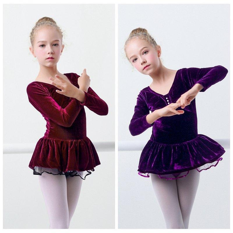 878a72136 2019 Winter Girls Ballet Tutu Dress Warm Velvet Gymnastics Leotard ...
