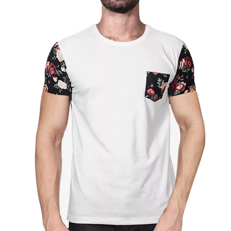 1ad10a9bdeff Summer New Casual T Shirts Men 2018 Fashion Floral Print Mens T Shirts  Short Sleeve O Neck Slim Fit Tee Shirt Homme Plus Size Make T Shirts Shirt  Designs ...