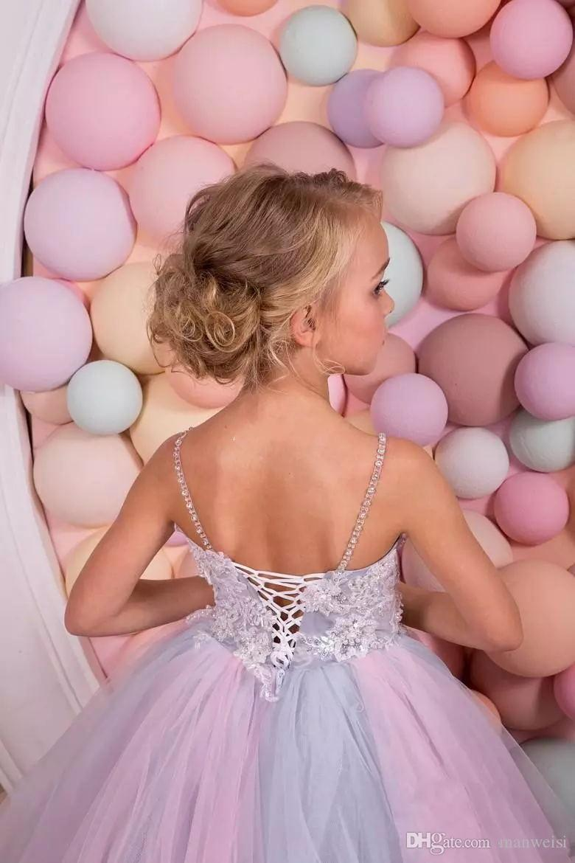 Rainbow Glitz Flower Girls Dresses For Weddings 2018 Spaghetti Neck Crystal Kids Ball Gowns Floor Length Teens Pageant Dress