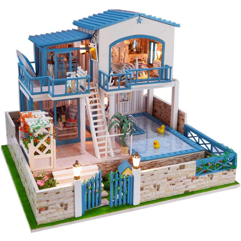 13829 Large Diy Wooden Dollhouse Miniature Villa Big Doll House Led Lights Miniatures For Decoration Toys Girls
