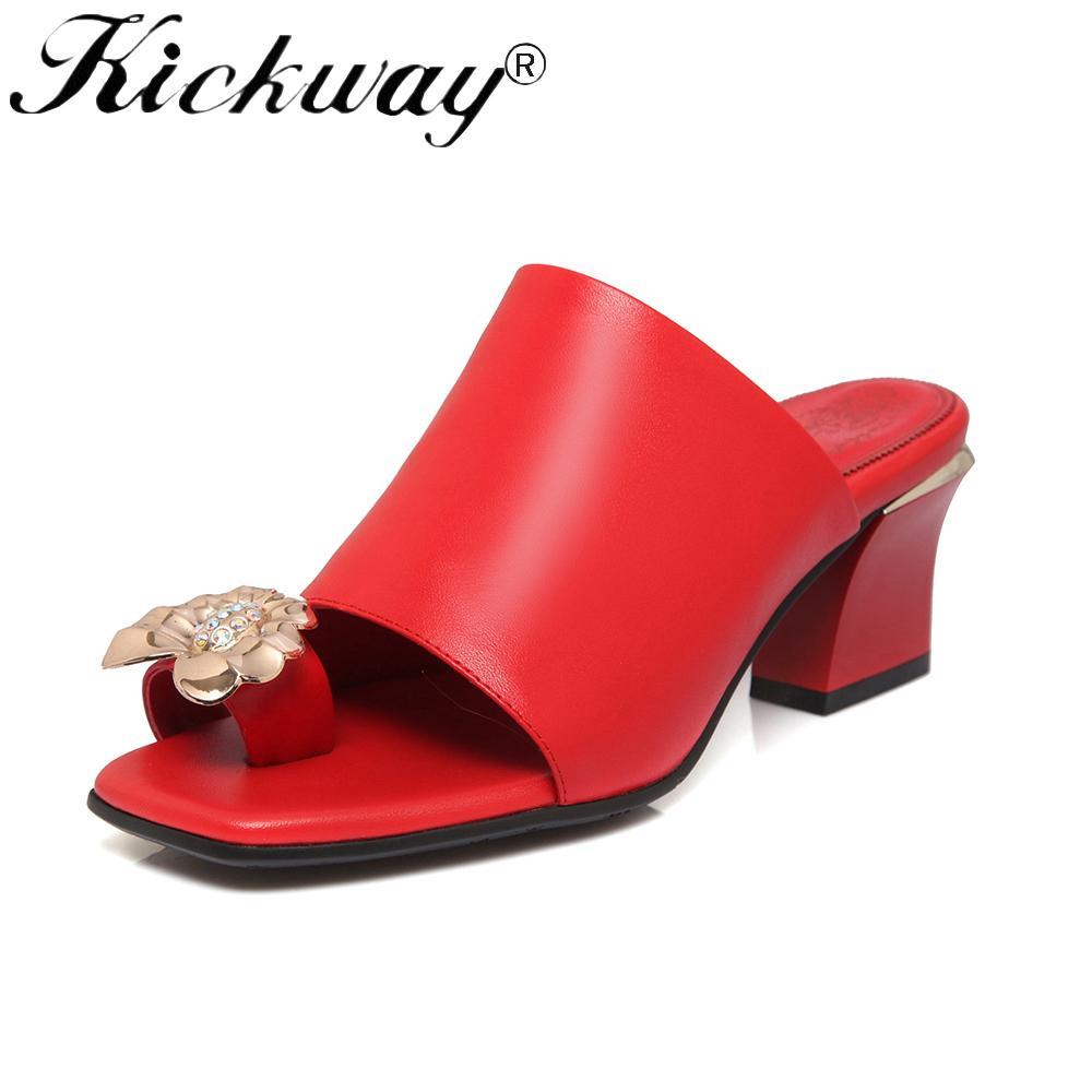 5f78c9cb88 Kickway Women Slipper Genuine Leather Med Heels Slipper Heels Shoes ...
