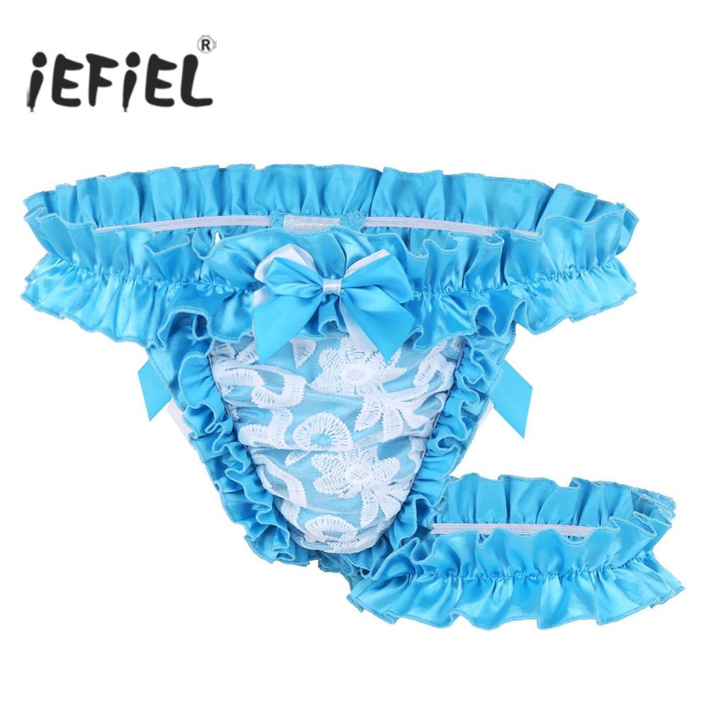 acb3920b3098 2019 2018 Mens Lingerie Lace Frilly Satin Ruffled High Cut Sissy Gay Male  Panties Knickers G String Underwear With Thigh Garter Belt From Piterr, ...