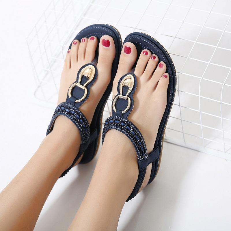 d9b5275ed393e Fashion Leather Women Sandals Bohemian Diamond Slippers Woman Flats ...
