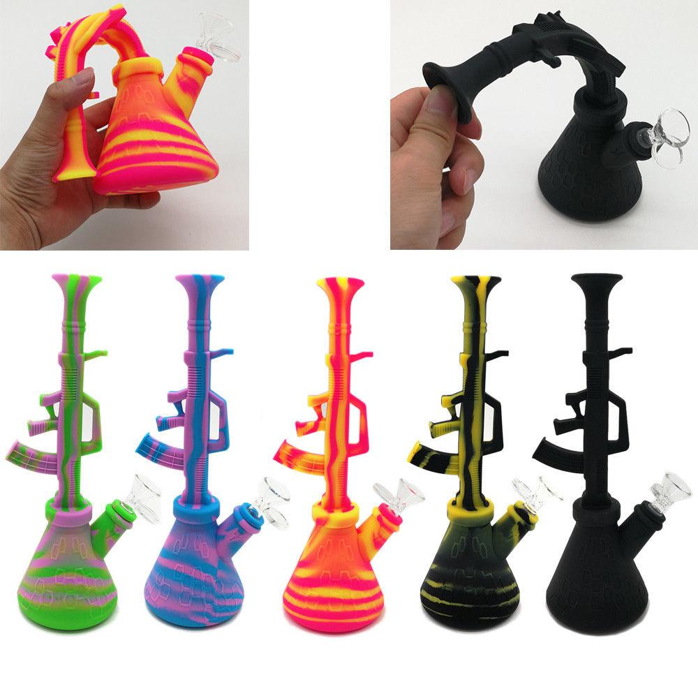 Portable Folding Silicone Vase Bottle Hookah Shisha Water Smoking Pipe Bongs Bubbler Kit Five Patterns Are Available