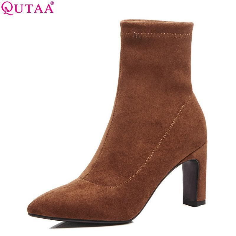 c21192a19588e Compre QUTAA 2019 Calcetines Botas Flock Zapatos Mujer Plataforma Mujeres  Botas Mediados De Becerro Cuadrados Zapatos De Tacón Alto De Invierno Talla  34 42 ...