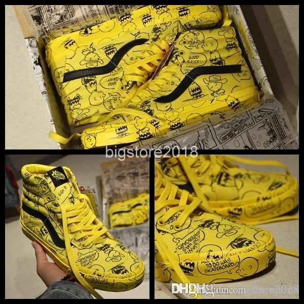 a999ebb24c 2018 New Vault X Peanuts Old Skool Man Woman Runnning Shoes Yellow ...