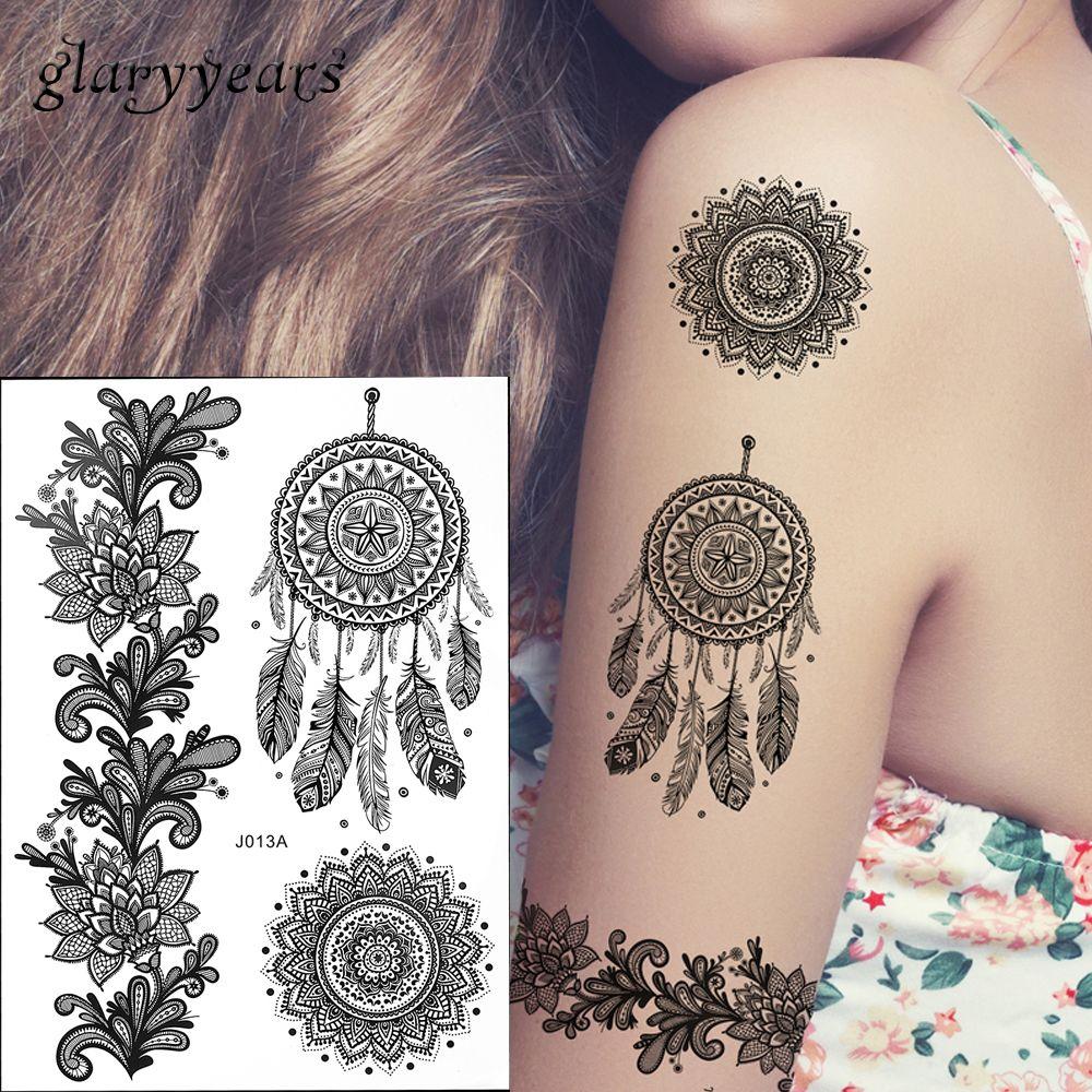 Hot Fashion Large Indian Mehndi Henna Women Body Art Glitter Tattoo ...