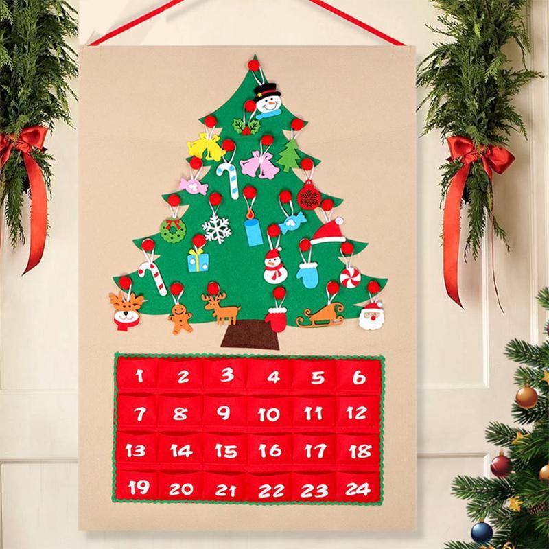 Calendario Dellavvento In Feltro.Calendario Dell Avvento Di Feltro Albero Di Natale Con Pocket Hanging Ornamento Presepio Conto Alla Rovescia Decorazione Natalizia Regali Di Natale