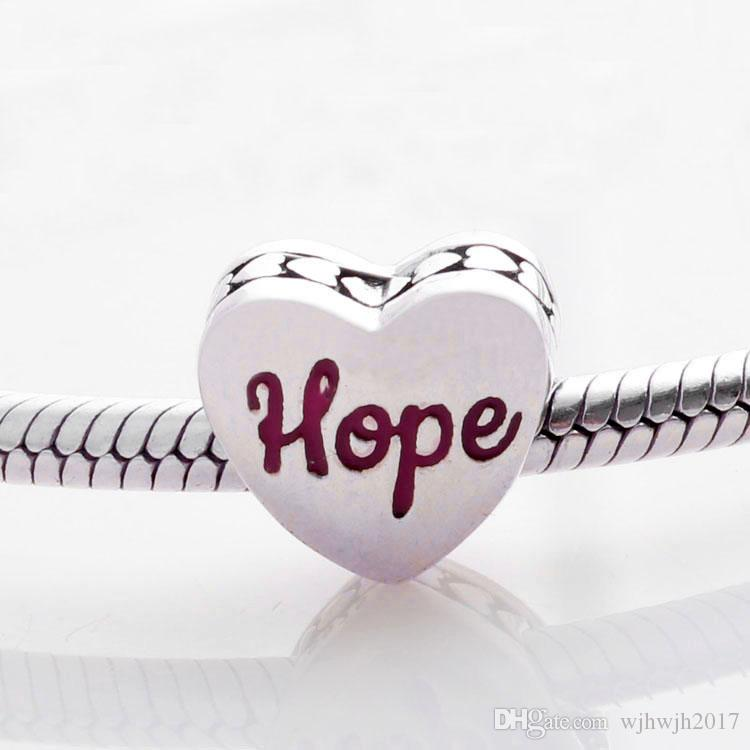 New Authentic S925 Sterling Silver Love Hearts Bead Red Enamel Hope Ribbon Heart Charm Fit Brand Bracelets DIY Jewelry Making