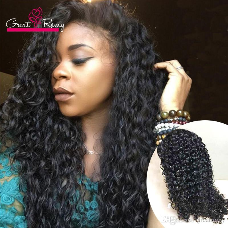 Greatremy Natural Hairline Full Lace Wigs Deep Curly Wave Long