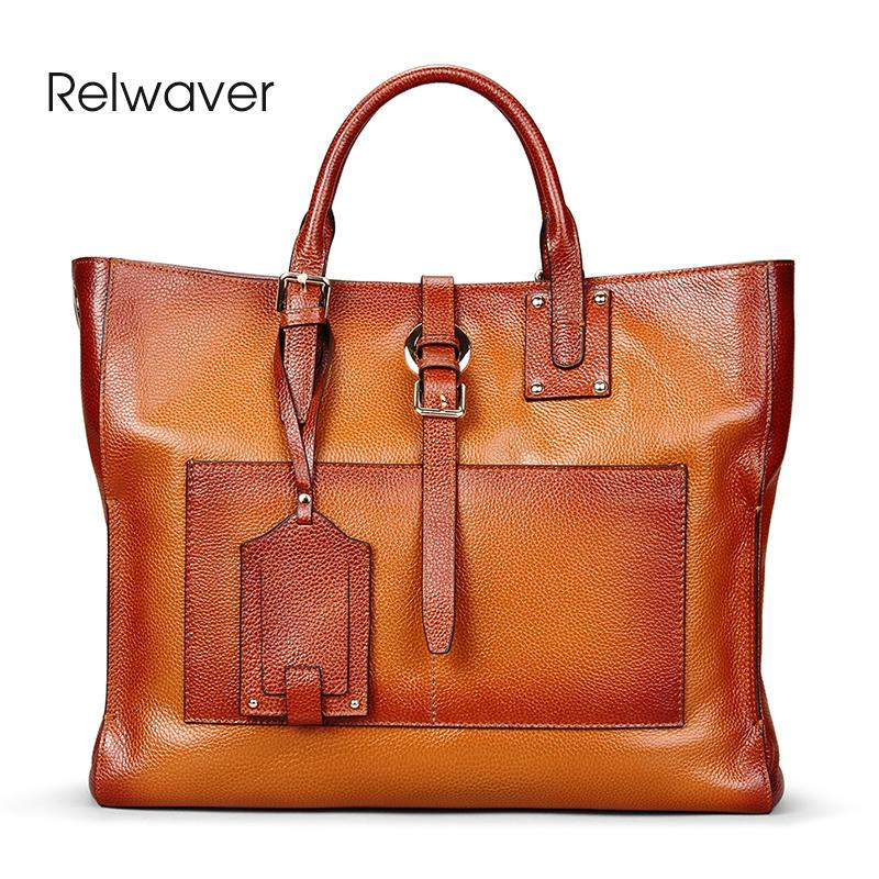 7ebe8971f08f Relwaver Genuine Leather Tote Bag Vintage Brown Big Women Leather Handbags  Business Women High Quality Cowhide Soft Shoulder Bag Beach Bags Duffle Bags  From ...