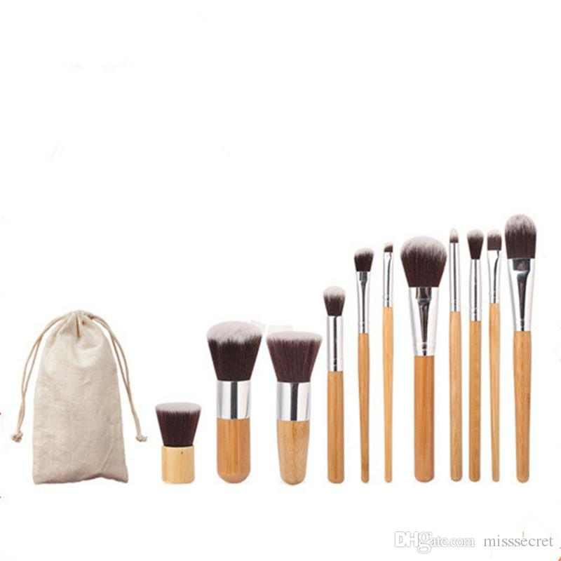 11pcs Natural Bamboo Makeup Brushes set professional Eyeshadow Foundation Lip Makeup Brushes Cosmetic Brush Sets maquiagem with bag
