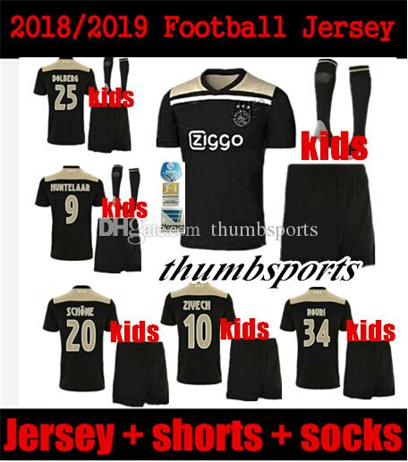 8e74178d20b 2019 2018 2019 Best Quality Ajax Kids Soccer Jersey 18 19 Ajax Away  Children Soccer Shirt 2019 Customized #10 KLAASSEN #34 NOURI Football Shirt  From ...