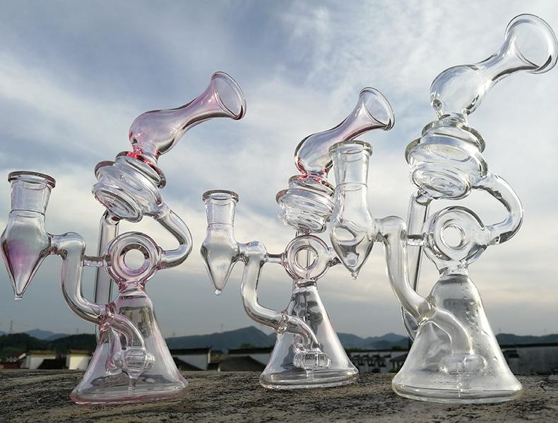 New glass recycler bong hollow out design water pipes dab rigs tyre perc glass bongs with thick 4mm quartz banger nail oil burner