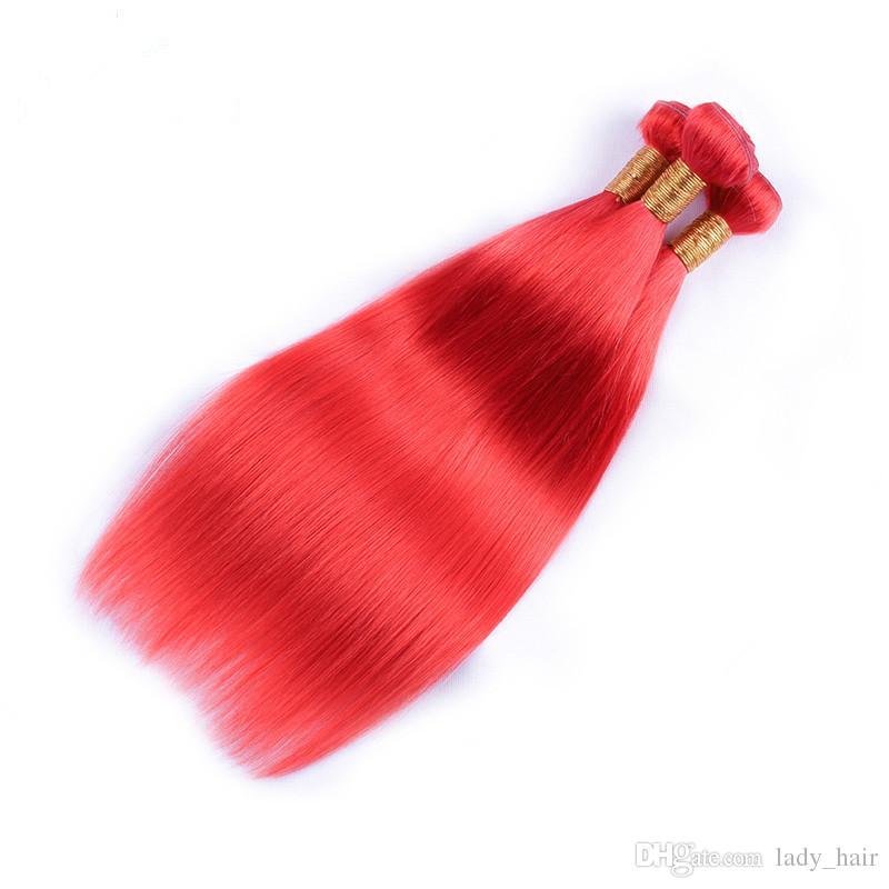 Jungfrau-brasilianische farbige rote Menschenhaar-Webart-Bündel seidige gerade Menschenhaar-Bündel-Angebote reine rote brasilianische Haar-Erweiterungen