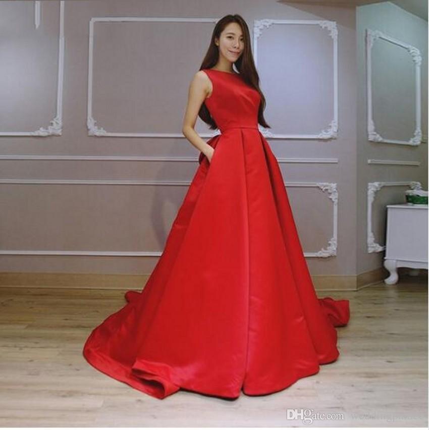 Elegante Vermelho Pescoço Da Colher A Linha de Vestidos de Baile De Cetim Tribunal Trem Vestidos de Noite Vestidos de Festa Robe De Soiree Sem Encosto Ocasião Especial Vestidos