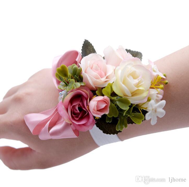 Grosshandel 4style Schone Hochzeit Corsage Hand Blume Seide Korsagen